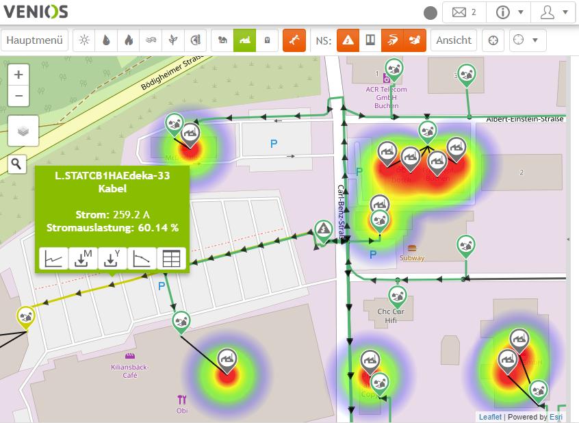 Heatmap zur Darstellung der Strombelastung im Netz; Venios GmbH